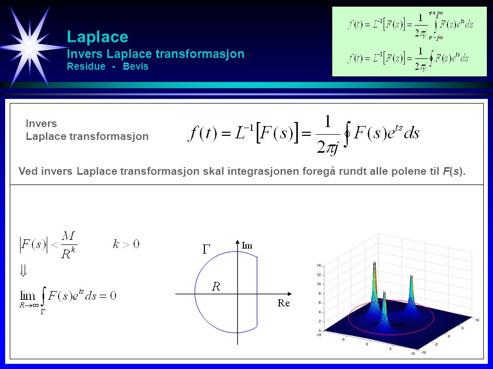 Laplace Invers Laplace transformasjon Residue - Bevis Invers Laplace transformasjon Ved invers Laplace transformasjon skal integrasjonen foregå rundt