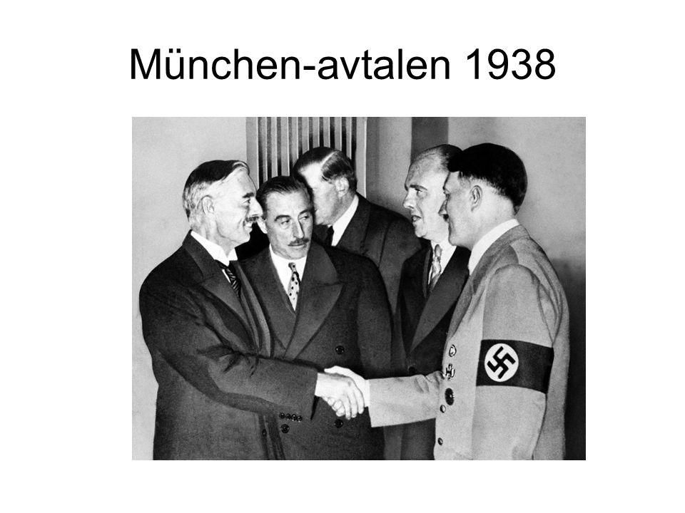 Sudetenland 3,5 millioner tyskere Tsjekkoslovakia ville gi selvstyre Hitler samlet tropper langs grensa Chamberlain møtte Hitler Hitler sa at Sudeten var siste området han ville gjøre krav på Chamberlain stolte på Hitler