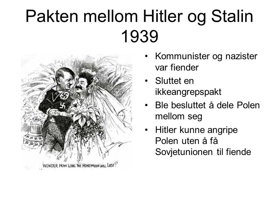 Pakten mellom Hitler og Stalin 1939 Kommunister og nazister var fiender Sluttet en ikkeangrepspakt Ble besluttet å dele Polen mellom seg Hitler kunne angripe Polen uten å få Sovjetunionen til fiende