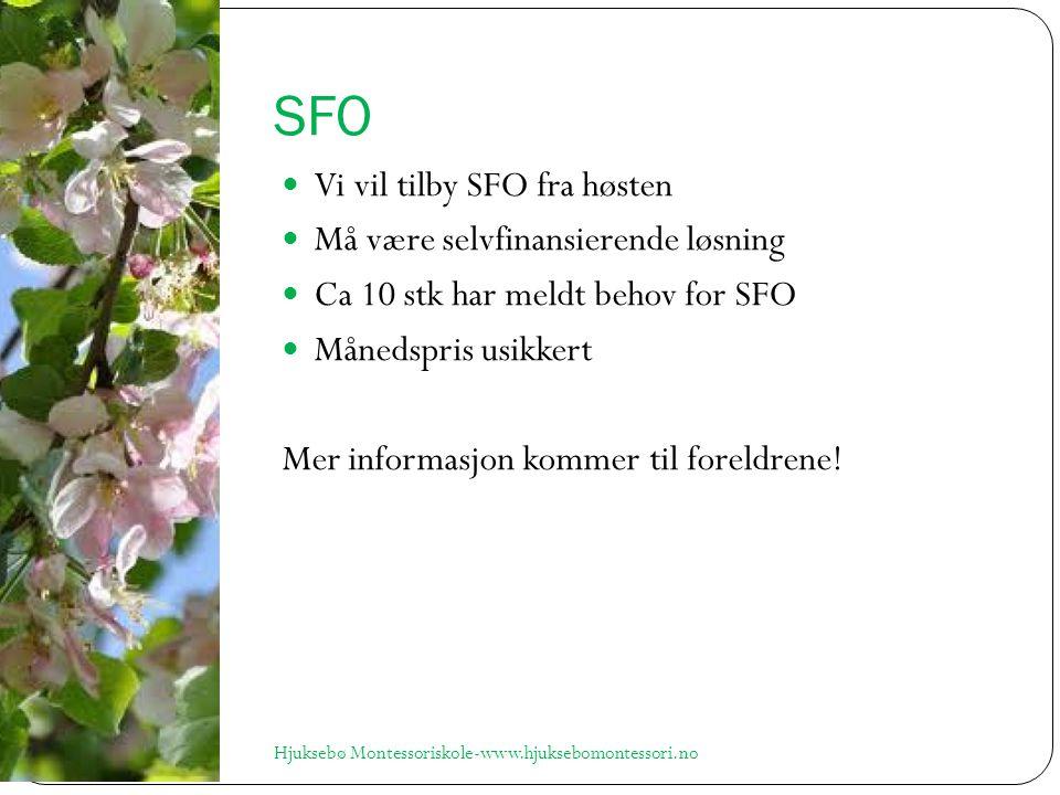 SFO Vi vil tilby SFO fra høsten Må være selvfinansierende løsning Ca 10 stk har meldt behov for SFO Månedspris usikkert Mer informasjon kommer til foreldrene.