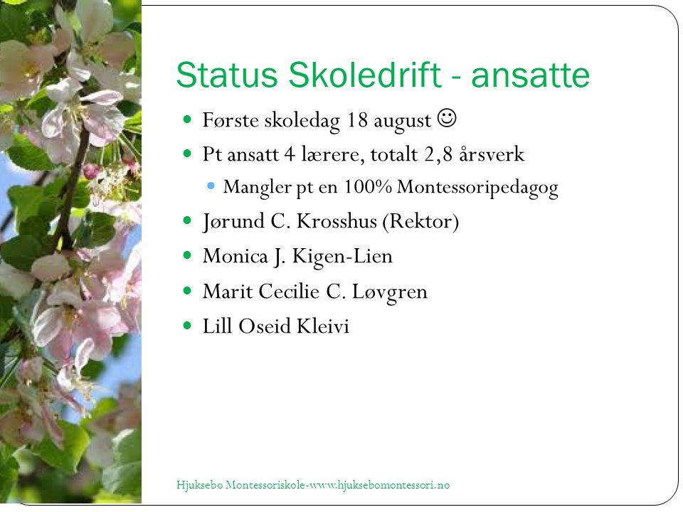 Status Skoledrift - ansatte Første skoledag 18 august Pt ansatt 4 lærere, totalt 2,8 årsverk Mangler pt en 100% Montessoripedagog Jørund C.