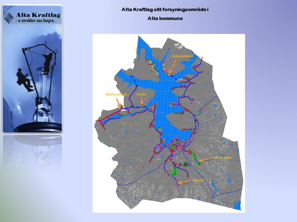 Alta Kraftlag sitt forsyningsområde i Alta kommune Kåven Øksfjordbotn Kløfta Øvre Stilla Hakkstabben