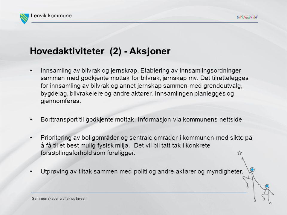 Hovedaktiviteter (2) - Aksjoner Innsamling av bilvrak og jernskrap. Etablering av innsamlingsordninger sammen med godkjente mottak for bilvrak, jernsk