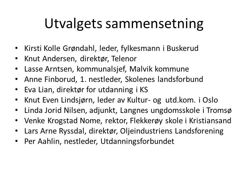 Utvalgets sammensetning Kirsti Kolle Grøndahl, leder, fylkesmann i Buskerud Knut Andersen, direktør, Telenor Lasse Arntsen, kommunalsjef, Malvik kommune Anne Finborud, 1.