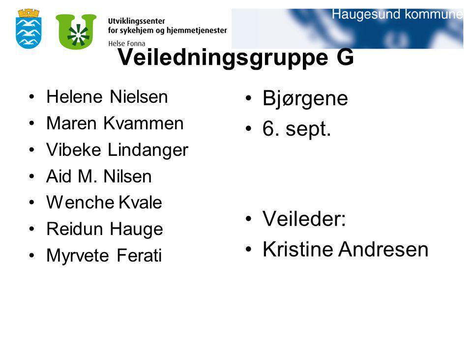 Veiledningsgruppe G Helene Nielsen Maren Kvammen Vibeke Lindanger Aid M. Nilsen Wenche Kvale Reidun Hauge Myrvete Ferati Bjørgene 6. sept. Veileder: K
