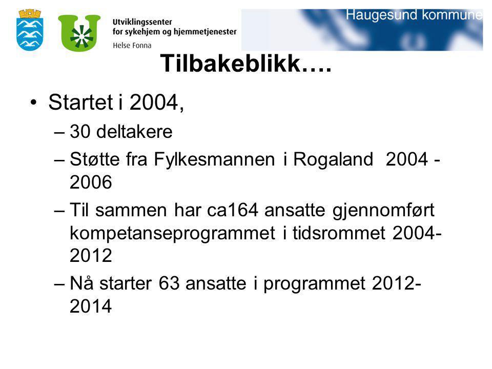 Tilbakeblikk…. Startet i 2004, –30 deltakere –Støtte fra Fylkesmannen i Rogaland 2004 - 2006 –Til sammen har ca164 ansatte gjennomført kompetanseprogr