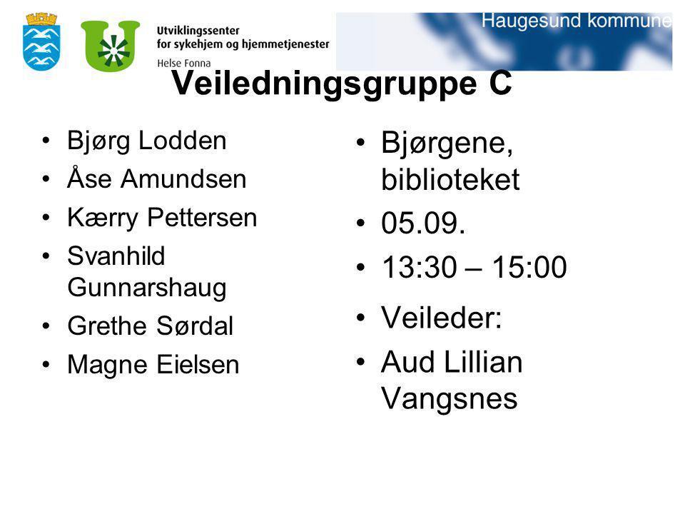 Veiledningsgruppe C Bjørg Lodden Åse Amundsen Kærry Pettersen Svanhild Gunnarshaug Grethe Sørdal Magne Eielsen Bjørgene, biblioteket 05.09. 13:30 – 15