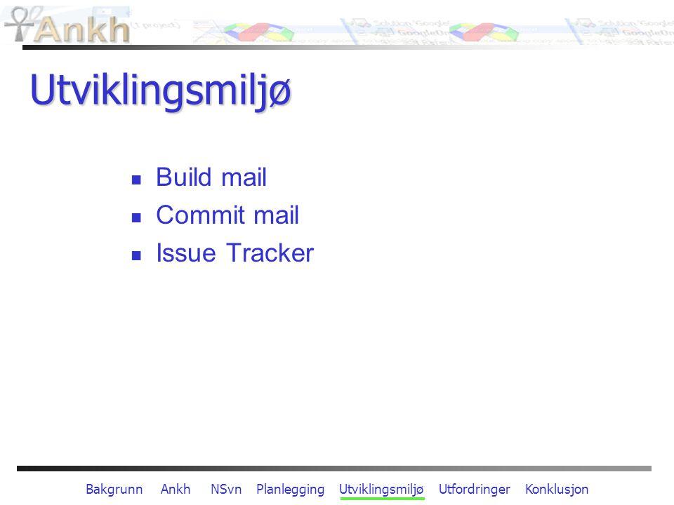 Bakgrunn Ankh NSvn Planlegging Utviklingsmiljø Utfordringer Konklusjon Utviklingsmiljø Build mail Commit mail Issue Tracker
