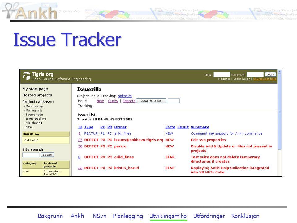 Bakgrunn Ankh NSvn Planlegging Utviklingsmiljø Utfordringer Konklusjon Issue Tracker