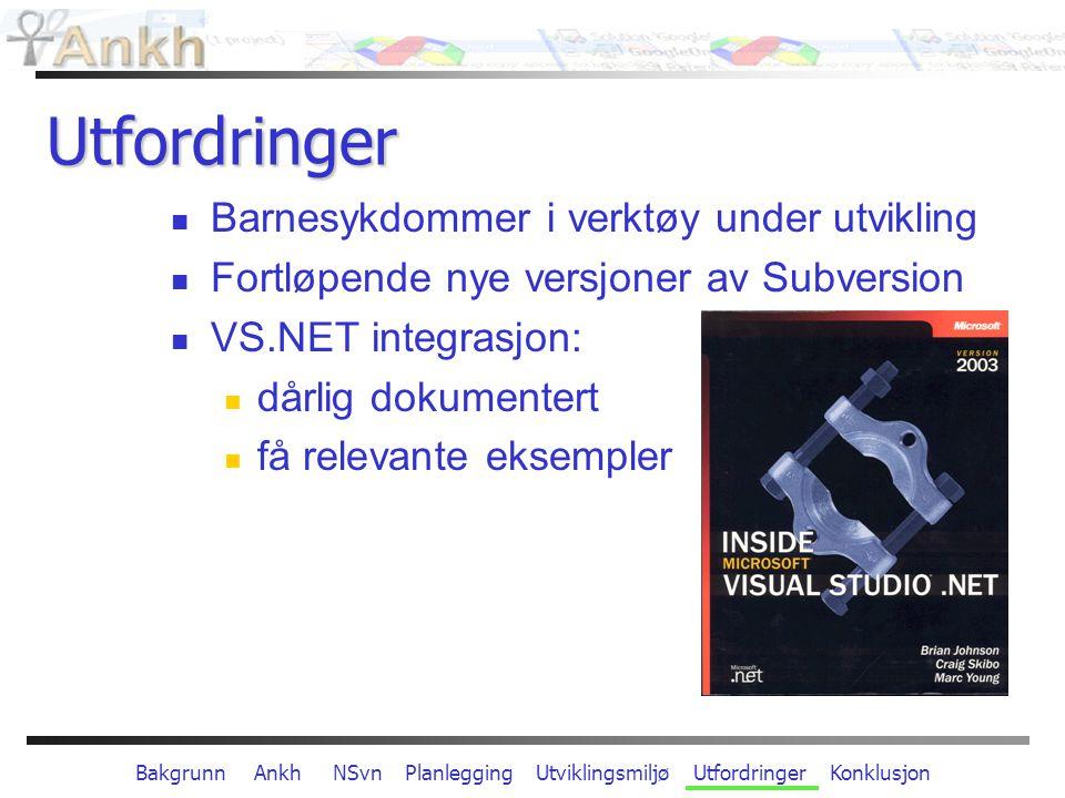Bakgrunn Ankh NSvn Planlegging Utviklingsmiljø Utfordringer Konklusjon Konklusjon SVN - lettere tilgjengelig for ny brukergruppe Økt produktivitet og forenklet arbeidsprosess fordi SVN er direkte integrert i kodemiljø Ankh er åpen kildekode: Kunnskapsoverføring Ankh har en framtid innen Open Source Gratis