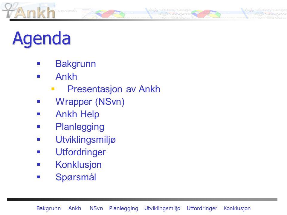 Bakgrunn Ankh NSvn Planlegging Utviklingsmiljø Utfordringer Konklusjon Agenda  Bakgrunn  Ankh  Presentasjon av Ankh  Wrapper (NSvn)  Ankh Help  Planlegging  Utviklingsmiljø  Utfordringer  Konklusjon  Spørsmål