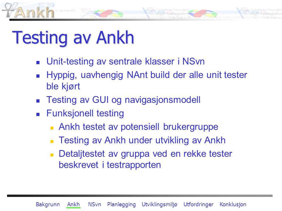 Bakgrunn Ankh NSvn Planlegging Utviklingsmiljø Utfordringer Konklusjon Arkitektur