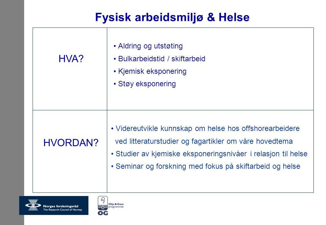 Fysisk arbeidsmiljø & Helse Videreutvikle kunnskap om helse hos offshorearbeidere ved litteraturstudier og fagartikler om våre hovedtema Studier av kj