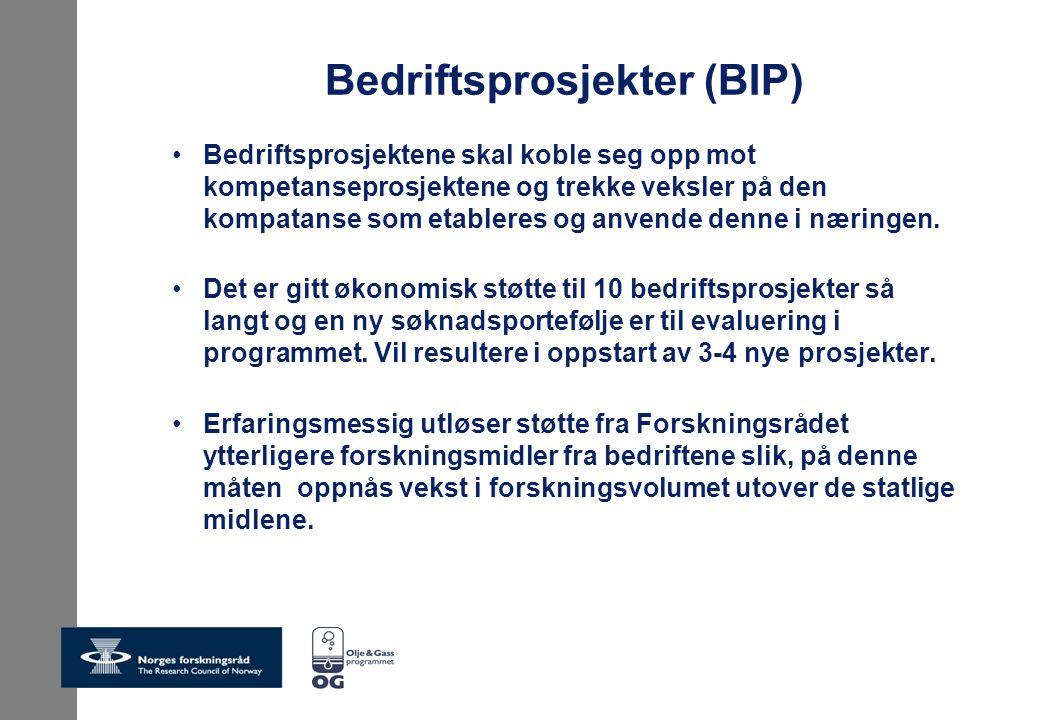 Bedriftsprosjekter (BIP) Bedriftsprosjektene skal koble seg opp mot kompetanseprosjektene og trekke veksler på den kompatanse som etableres og anvende