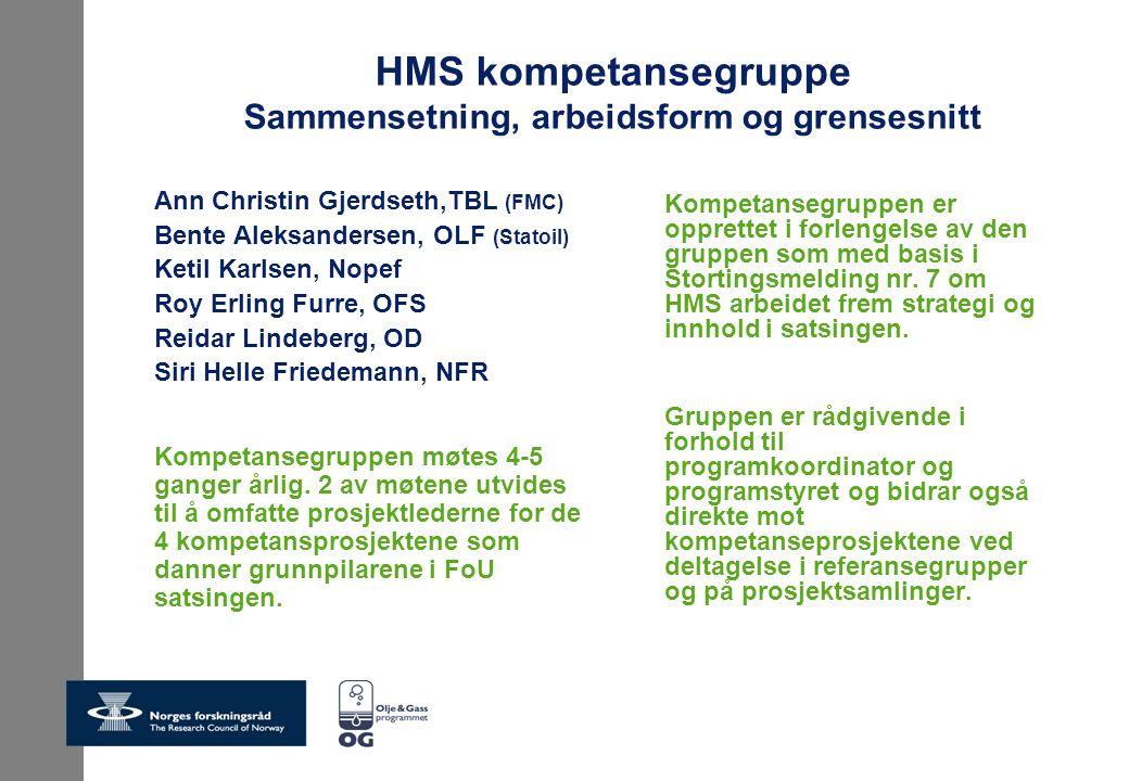 HMS kompetansegruppe Sammensetning, arbeidsform og grensesnitt Ann Christin Gjerdseth,TBL (FMC) Bente Aleksandersen, OLF (Statoil) Ketil Karlsen, Nope