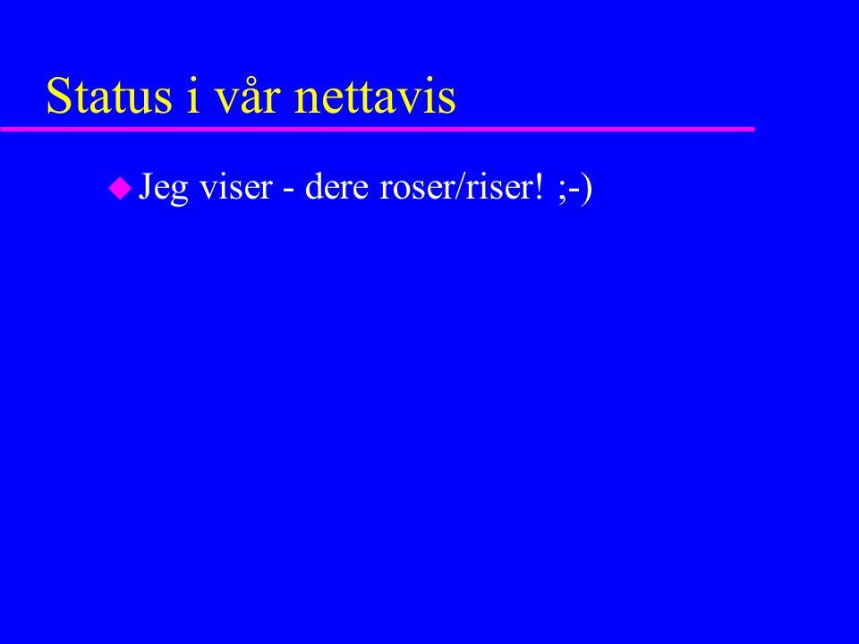 Status i vår nettavis u Jeg viser - dere roser/riser! ;-)