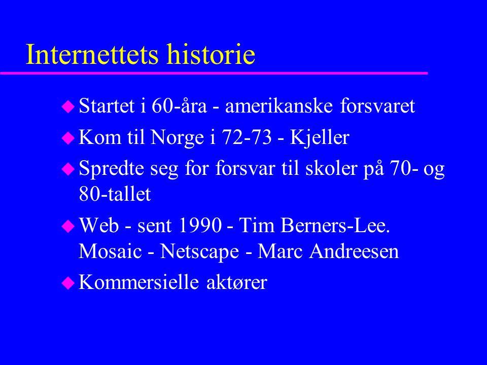 Internettets historie u Startet i 60-åra - amerikanske forsvaret u Kom til Norge i 72-73 - Kjeller u Spredte seg for forsvar til skoler på 70- og 80-tallet u Web - sent 1990 - Tim Berners-Lee.