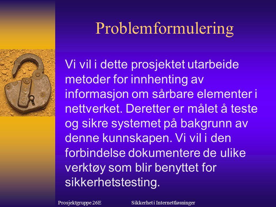 Prosjektgruppe 26ESikkerhet i Internettløsninger Problemformulering Vi vil i dette prosjektet utarbeide metoder for innhenting av informasjon om sårbare elementer i nettverket.