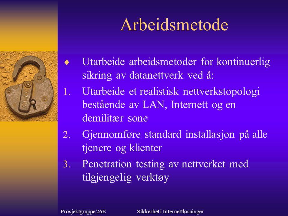 Prosjektgruppe 26ESikkerhet i Internettløsninger Arbeidsmetoder 4.