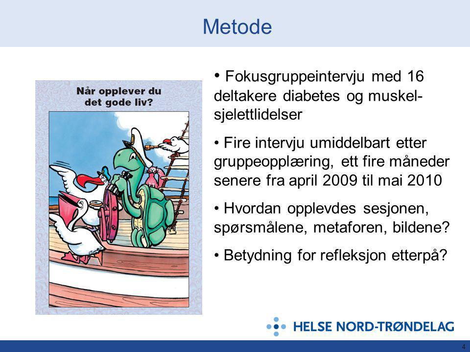 4 Metode Fokusgruppeintervju med 16 deltakere diabetes og muskel- sjelettlidelser Fire intervju umiddelbart etter gruppeopplæring, ett fire måneder senere fra april 2009 til mai 2010 Hvordan opplevdes sesjonen, spørsmålene, metaforen, bildene.