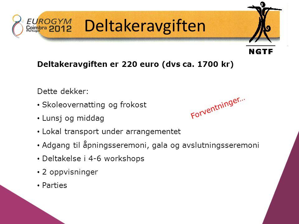 Deltakeravgiften Deltakeravgiften er 220 euro (dvs ca. 1700 kr) Dette dekker: Skoleovernatting og frokost Lunsj og middag Lokal transport under arrang
