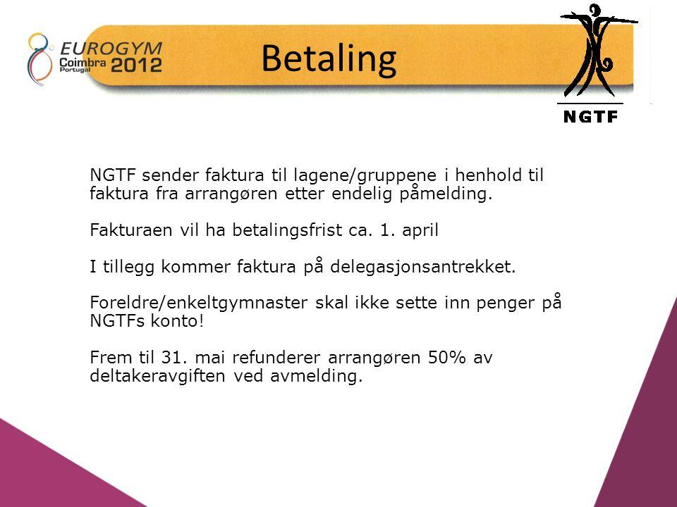 Betaling NGTF sender faktura til lagene/gruppene i henhold til faktura fra arrangøren etter endelig påmelding.