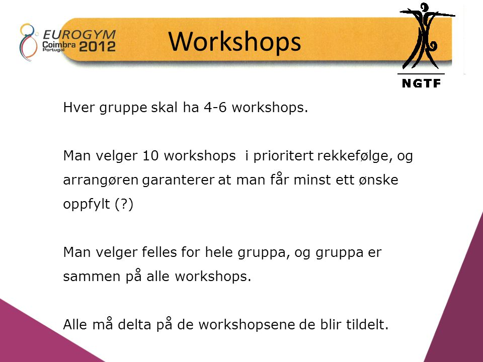 Workshops Hver gruppe skal ha 4-6 workshops.