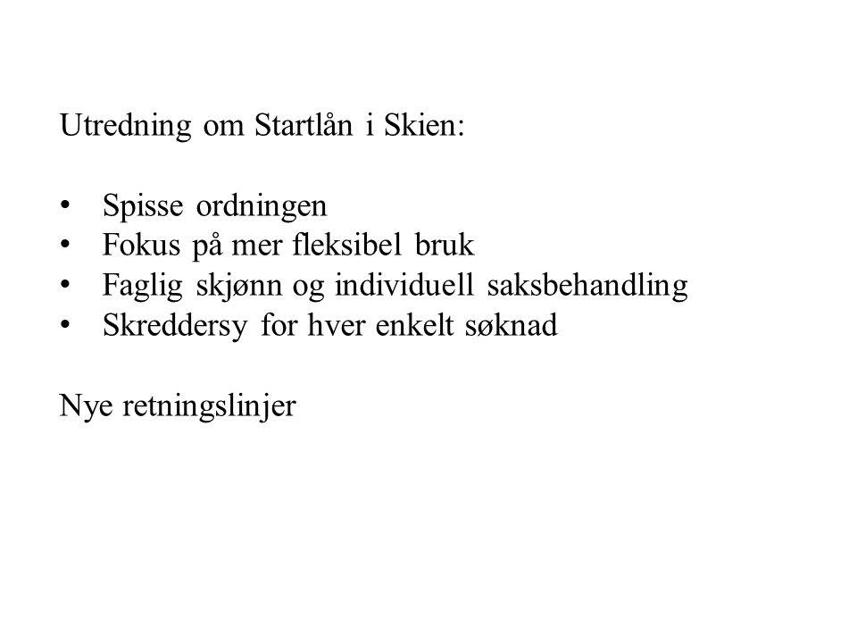 Utredning om Startlån i Skien: Spisse ordningen Fokus på mer fleksibel bruk Faglig skjønn og individuell saksbehandling Skreddersy for hver enkelt søknad Nye retningslinjer