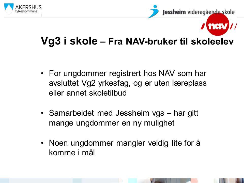 Vg3 i skole – Fra NAV-bruker til skoleelev For ungdommer registrert hos NAV som har avsluttet Vg2 yrkesfag, og er uten læreplass eller annet skoletilb