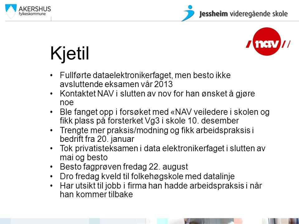 Kjetil Fullførte dataelektronikerfaget, men besto ikke avsluttende eksamen vår 2013 Kontaktet NAV i slutten av nov for han ønsket å gjøre noe Ble fang