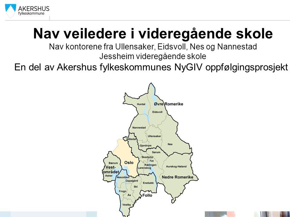 Nav veiledere i videregående skole Nav kontorene fra Ullensaker, Eidsvoll, Nes og Nannestad Jessheim videregående skole En del av Akershus fylkeskommu