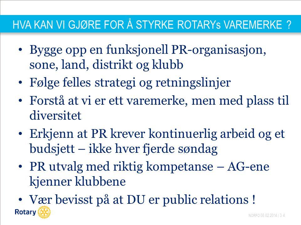 NORFO 08.02.2014 | 34 HVA KAN VI GJØRE FOR Å STYRKE ROTARYs VAREMERKE .