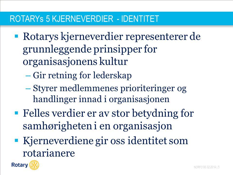 NORFO 08.02.2014   6 KJERNEVERDIER - IDENTITET  Å styrke Rotarys identitet og profil i markedet - en av hovedoppgavene inn i en ny fremtid for Rotary  Rotary i Norge stå sammen for å få oppmerksomhet i det nasjonale bildet, fra media både lokalt og nasjonalt  Rotarys merkevare – klubbene franchisetakere .