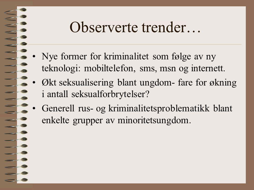 Observerte trender… Nye former for kriminalitet som følge av ny teknologi: mobiltelefon, sms, msn og internett.