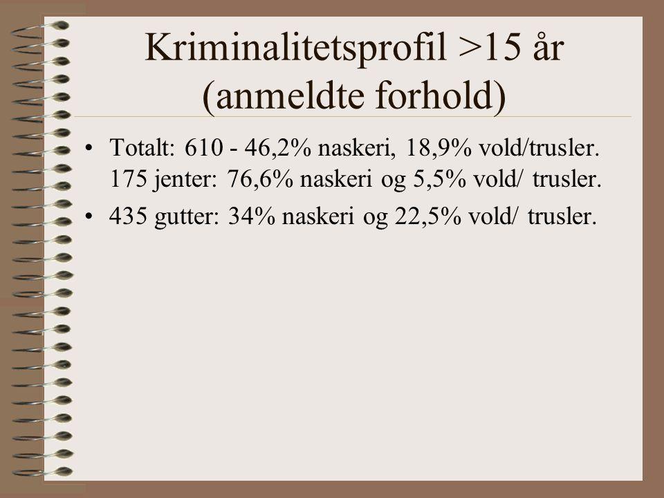 Kriminalitetsprofil >15 år (anmeldte forhold) Totalt: 610 - 46,2% naskeri, 18,9% vold/trusler.