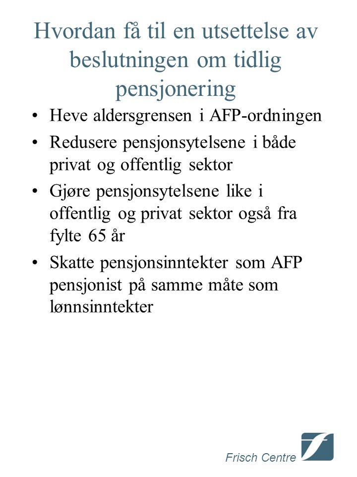Frisch Centre Hvordan få til en utsettelse av beslutningen om tidlig pensjonering Heve aldersgrensen i AFP-ordningen Redusere pensjonsytelsene i både