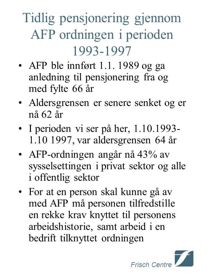 Frisch Centre Tidlig pensjonering gjennom AFP ordningen i perioden 1993-1997 AFP ble innført 1.1. 1989 og ga anledning til pensjonering fra og med fyl