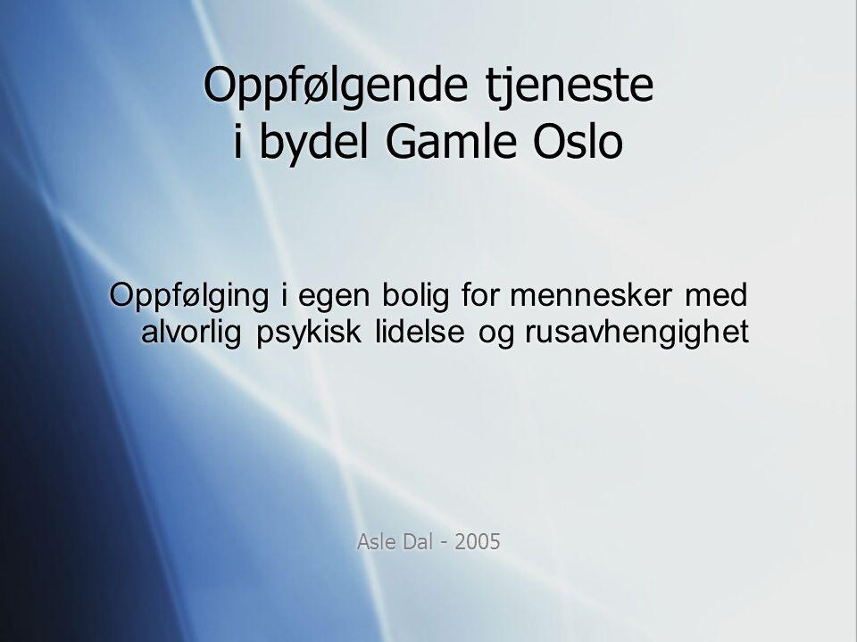 Oppfølgende tjeneste i bydel Gamle Oslo Oppfølging i egen bolig for mennesker med alvorlig psykisk lidelse og rusavhengighet Asle Dal - 2005 Oppfølgin