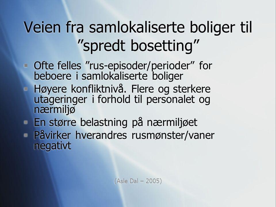 """Veien fra samlokaliserte boliger til """"spredt bosetting""""  Ofte felles """"rus-episoder/perioder"""" for beboere i samlokaliserte boliger  Høyere konfliktni"""