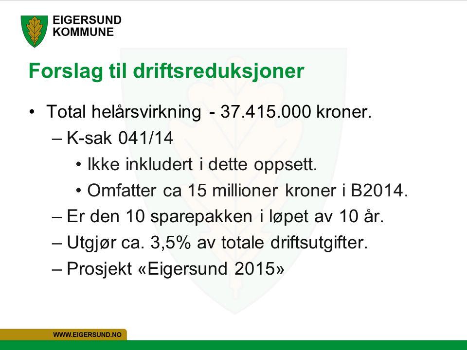 Forslag til driftsreduksjoner Total helårsvirkning - 37.415.000 kroner.