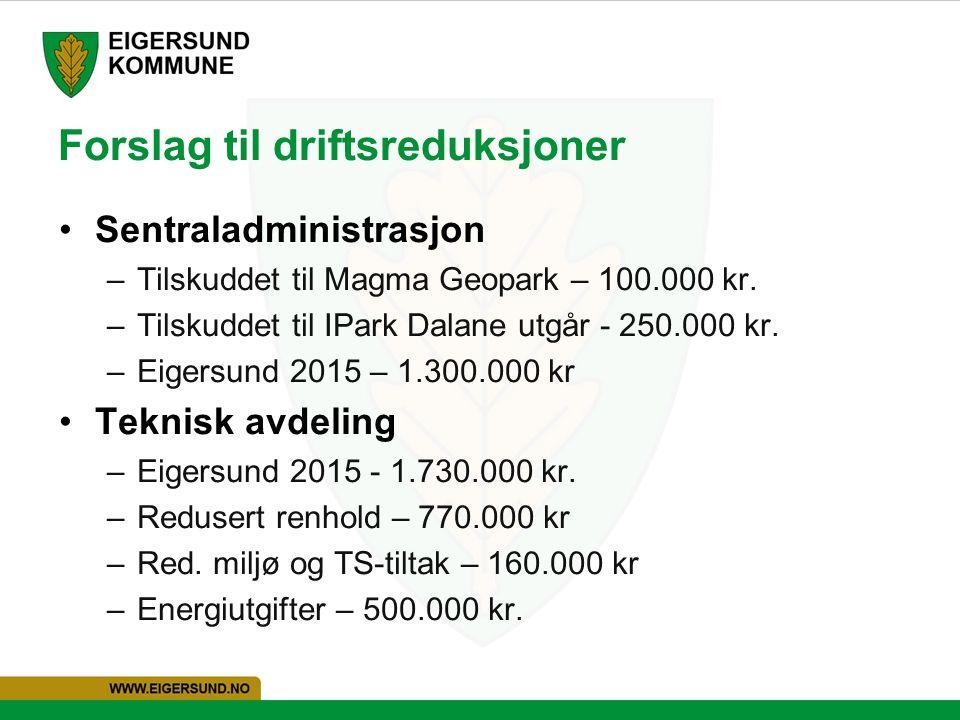 Forslag til driftsreduksjoner Sentraladministrasjon –Tilskuddet til Magma Geopark – 100.000 kr. –Tilskuddet til IPark Dalane utgår - 250.000 kr. –Eige