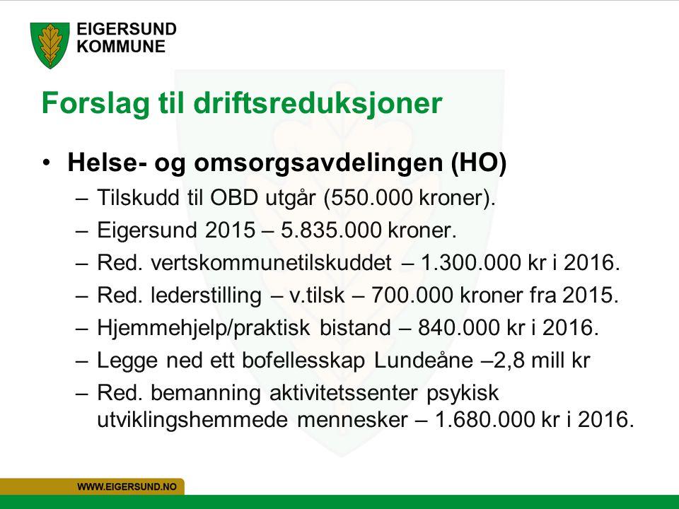 Forslag til driftsreduksjoner Helse- og omsorgsavdelingen (HO) –Tilskudd til OBD utgår (550.000 kroner). –Eigersund 2015 – 5.835.000 kroner. –Red. ver