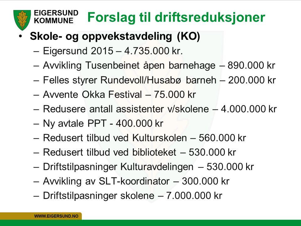 Forslag til driftsreduksjoner Skole- og oppvekstavdeling (KO) –Eigersund 2015 – 4.735.000 kr. –Avvikling Tusenbeinet åpen barnehage – 890.000 kr –Fell