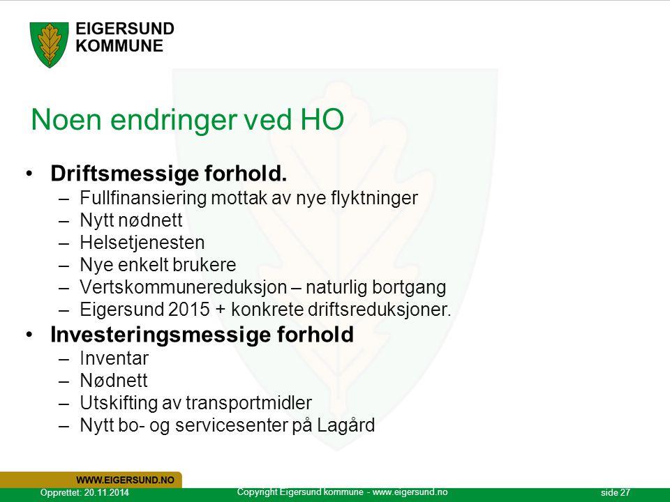Copyright Eigersund kommune - www.eigersund.no Opprettet: 20.11.2014side 27 Noen endringer ved HO Driftsmessige forhold. –Fullfinansiering mottak av n
