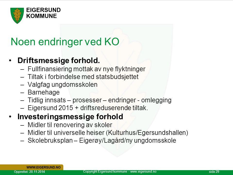 Copyright Eigersund kommune - www.eigersund.no Opprettet: 20.11.2014side 29 Noen endringer ved KO Driftsmessige forhold. –Fullfinansiering mottak av n