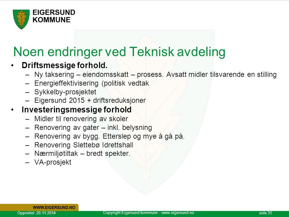 Copyright Eigersund kommune - www.eigersund.no Opprettet: 20.11.2014side 31 Noen endringer ved Teknisk avdeling Driftsmessige forhold. –Ny taksering –