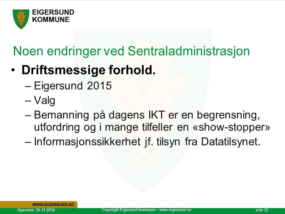 Copyright Eigersund kommune - www.eigersund.no Opprettet: 20.11.2014side 32 Noen endringer ved Sentraladministrasjon Driftsmessige forhold. –Eigersund