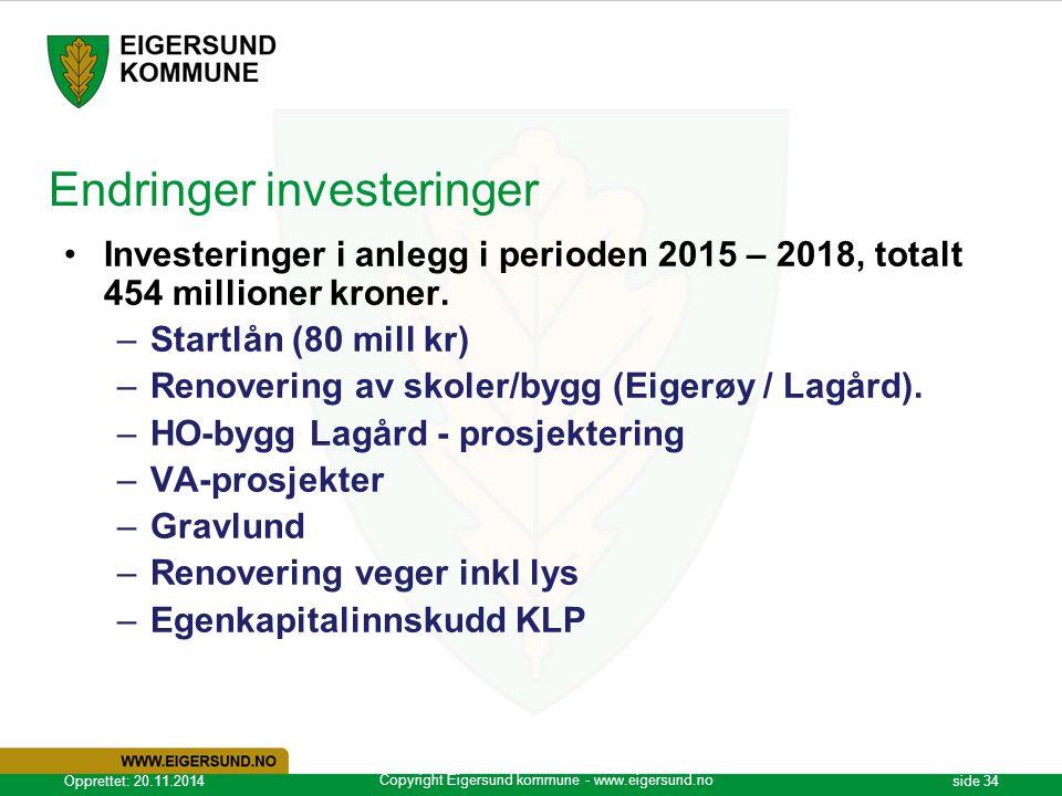 Copyright Eigersund kommune - www.eigersund.no Opprettet: 20.11.2014side 34 Endringer investeringer Investeringer i anlegg i perioden 2015 – 2018, totalt 454 millioner kroner.