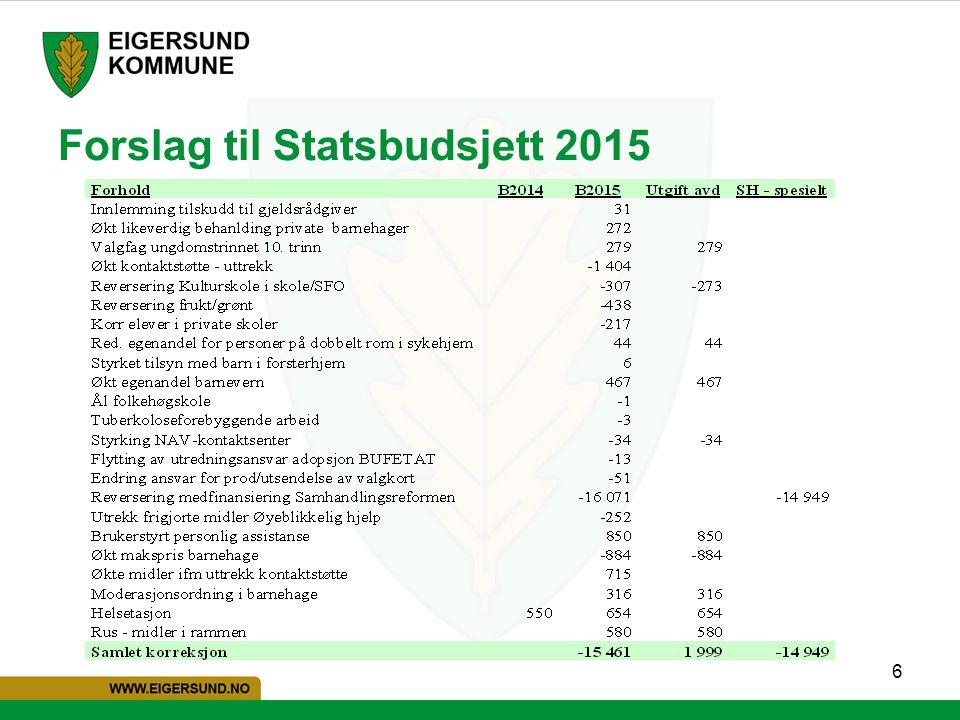 6 Forslag til Statsbudsjett 2015