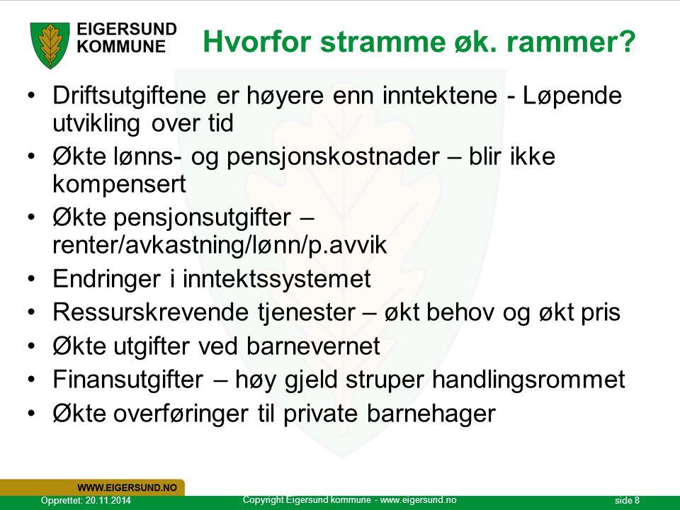 Copyright Eigersund kommune - www.eigersund.no Opprettet: 20.11.2014side 8 Hvorfor stramme øk. rammer? Driftsutgiftene er høyere enn inntektene - Løpe